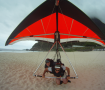 Hang Glider buzzing São Conrado Beach, Rio de Janeiro